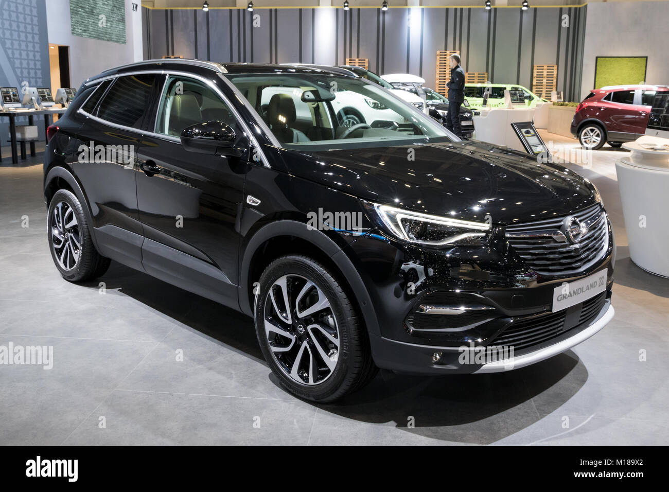 brussels jan 10 2018 opel grandland x new suv car shown at the stock photo 172901738 alamy. Black Bedroom Furniture Sets. Home Design Ideas