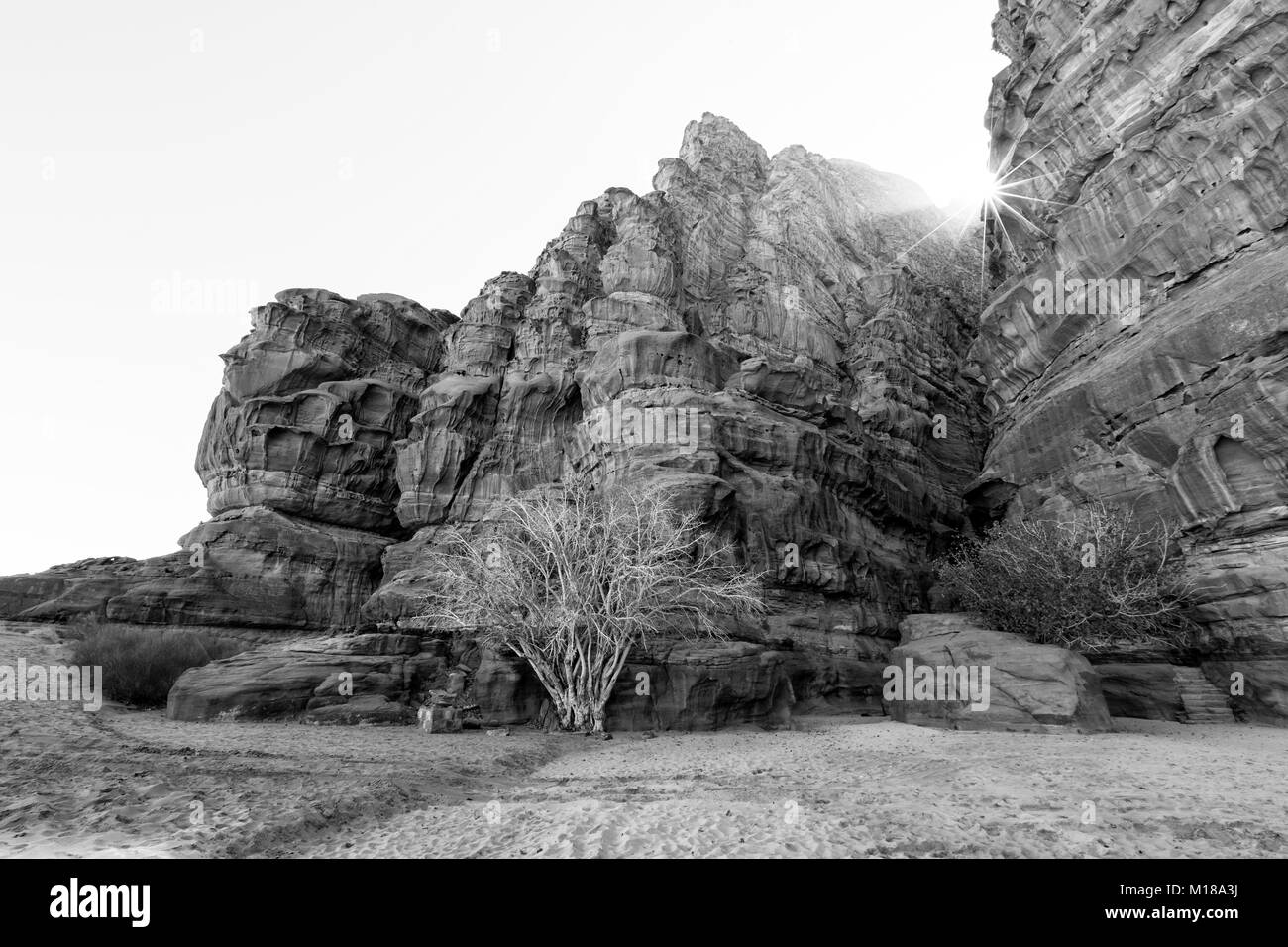 Beautiful scenic view of colorful mountain range in the wadi rum with a deep split in a rock, Jordan - Stock Image