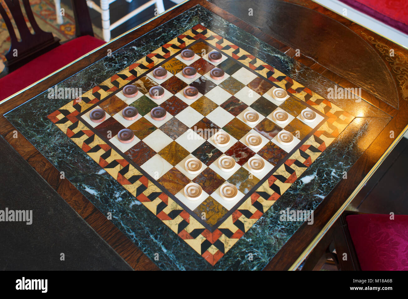 Close-up of a marble draughts board in the library at St. Michael's Mount, Cornwall, UK - John Gollop - Stock Image