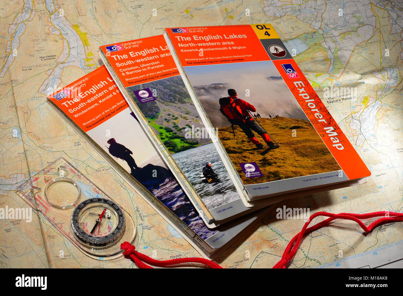 Map reading Compass and Ordinance Survey Maps - Stock Image