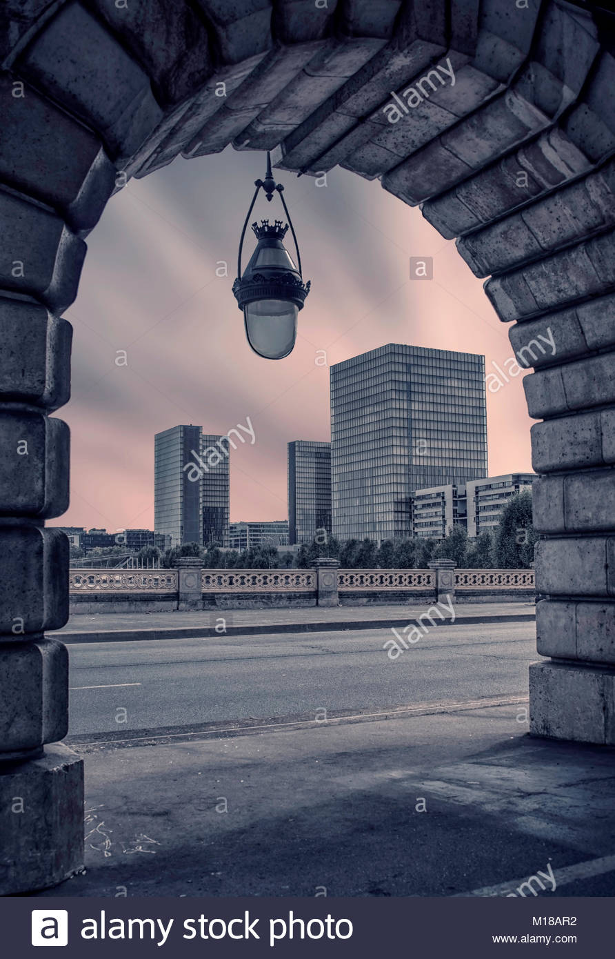 National library in Paris viewed from the Bercy bridge - Stock Image