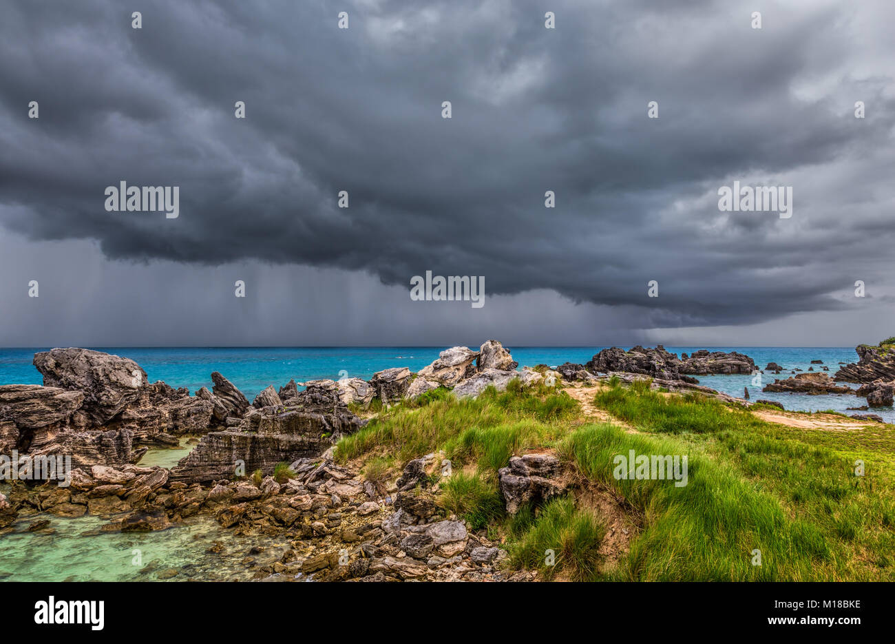 Severe Thunderstorm at Tobacco Bay Beach in St. George's Bermuda - Stock Image