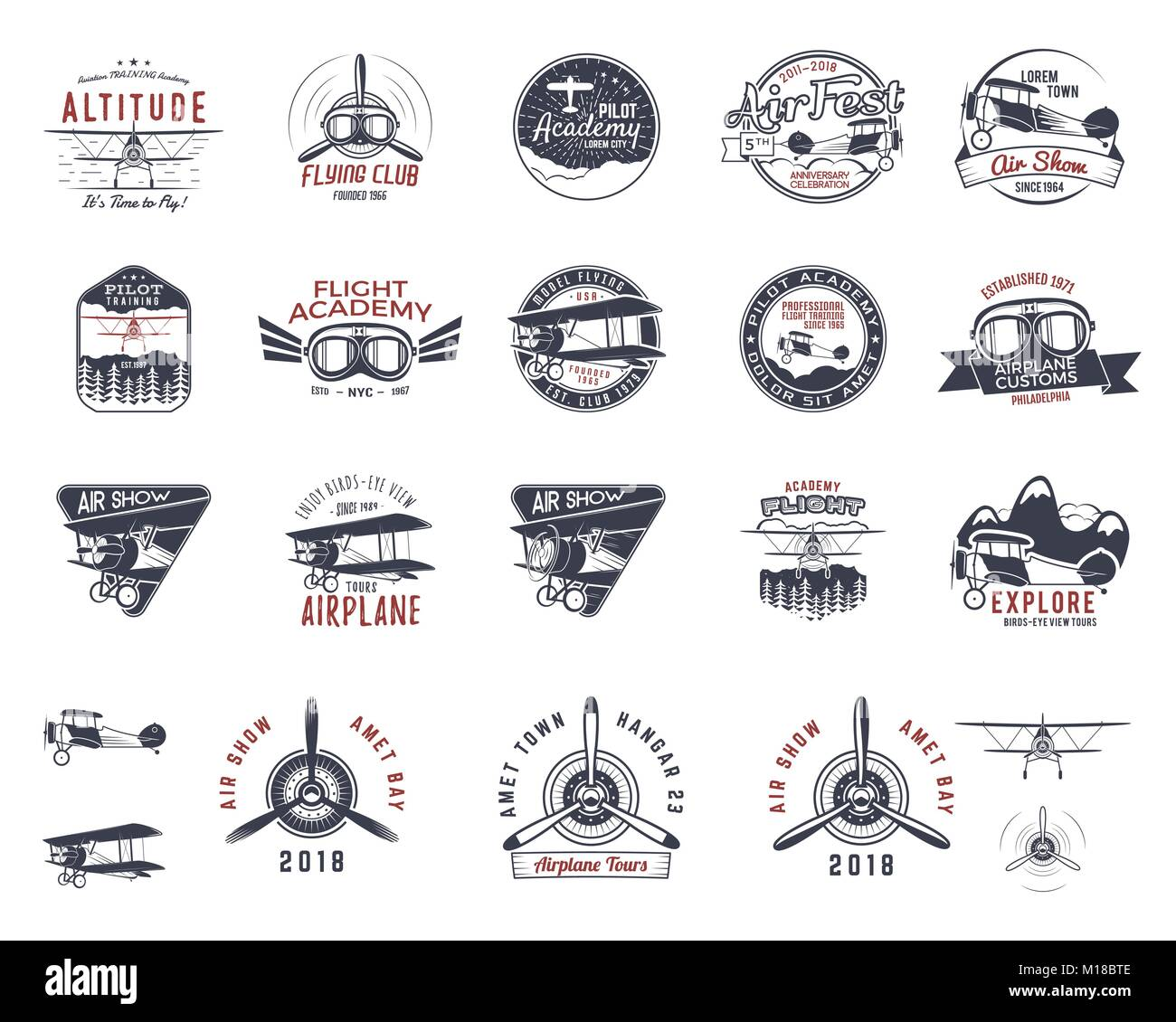 Vintage hand drawn old fly stamps. Travel or business airplane tour emblems. Biplane academy labels. Retro aerial - Stock Image