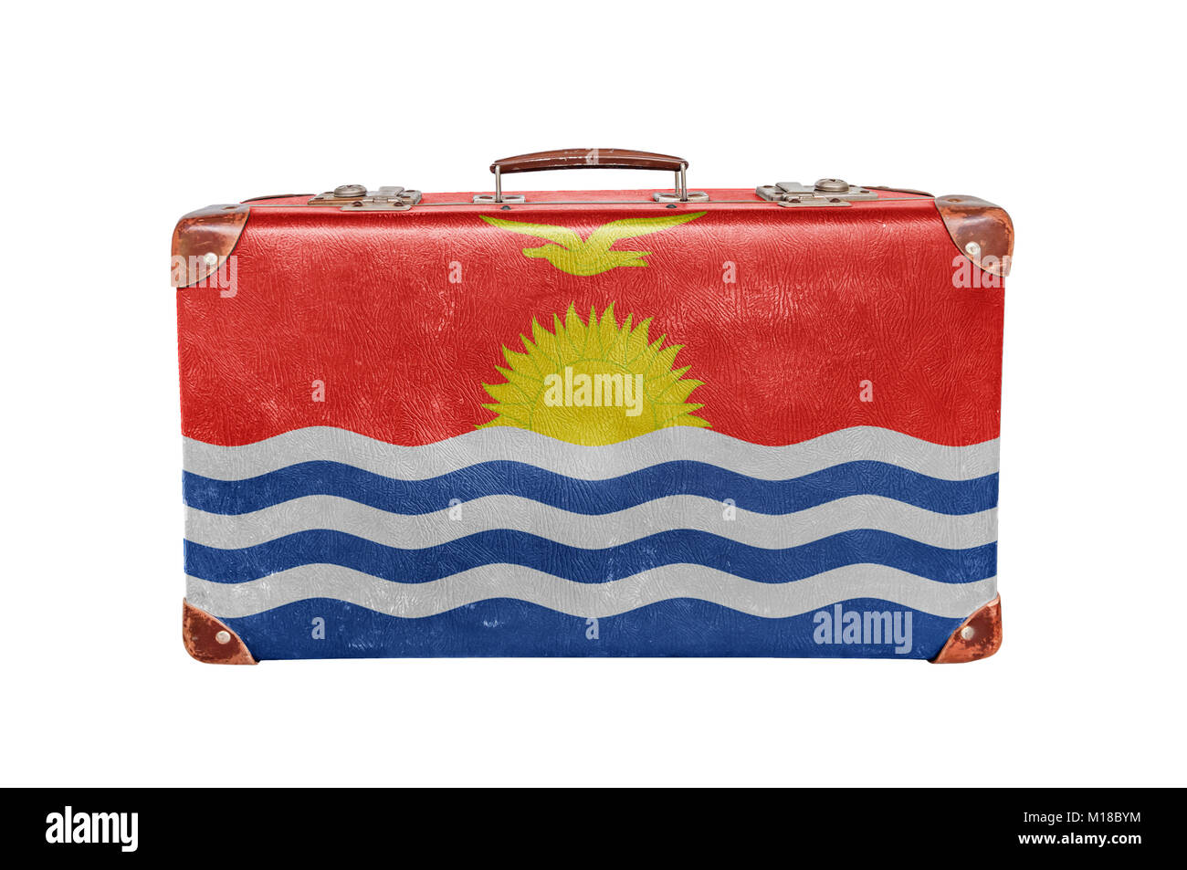 Vintage suitcase with Kiribati  flag isolated on white background - Stock Image