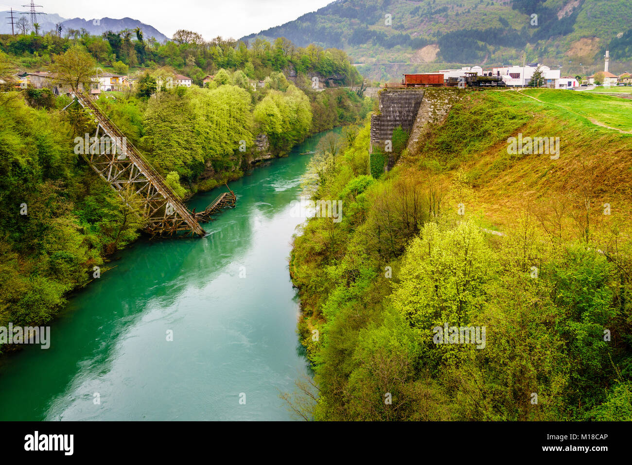 Railway bridge destroyed during Second World War in Jablanica, Bosnia and Herzegovina - Stock Image