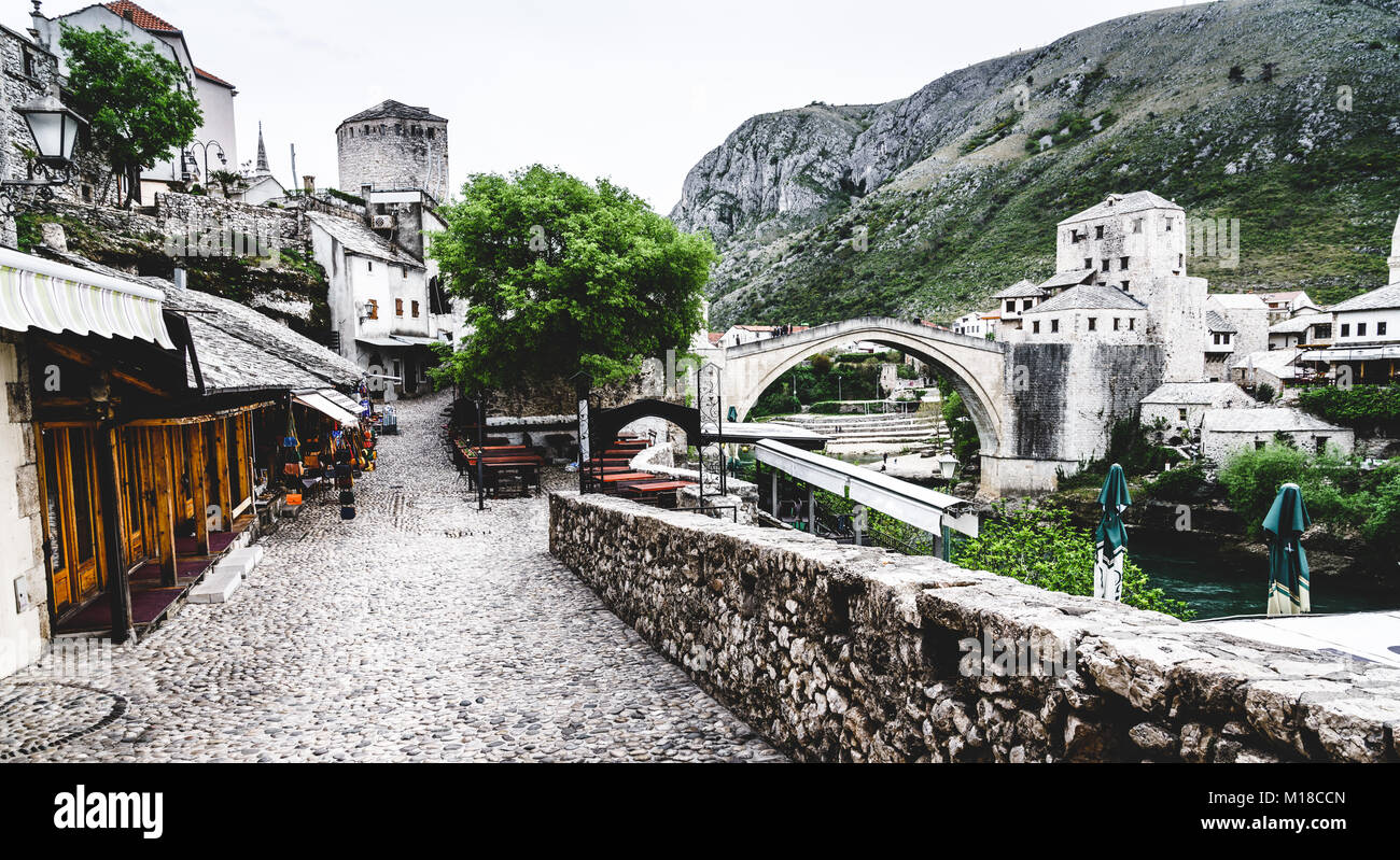 Old cobblestone street in the city of Mostar, Bosnia-Herzegovina - Stock Image