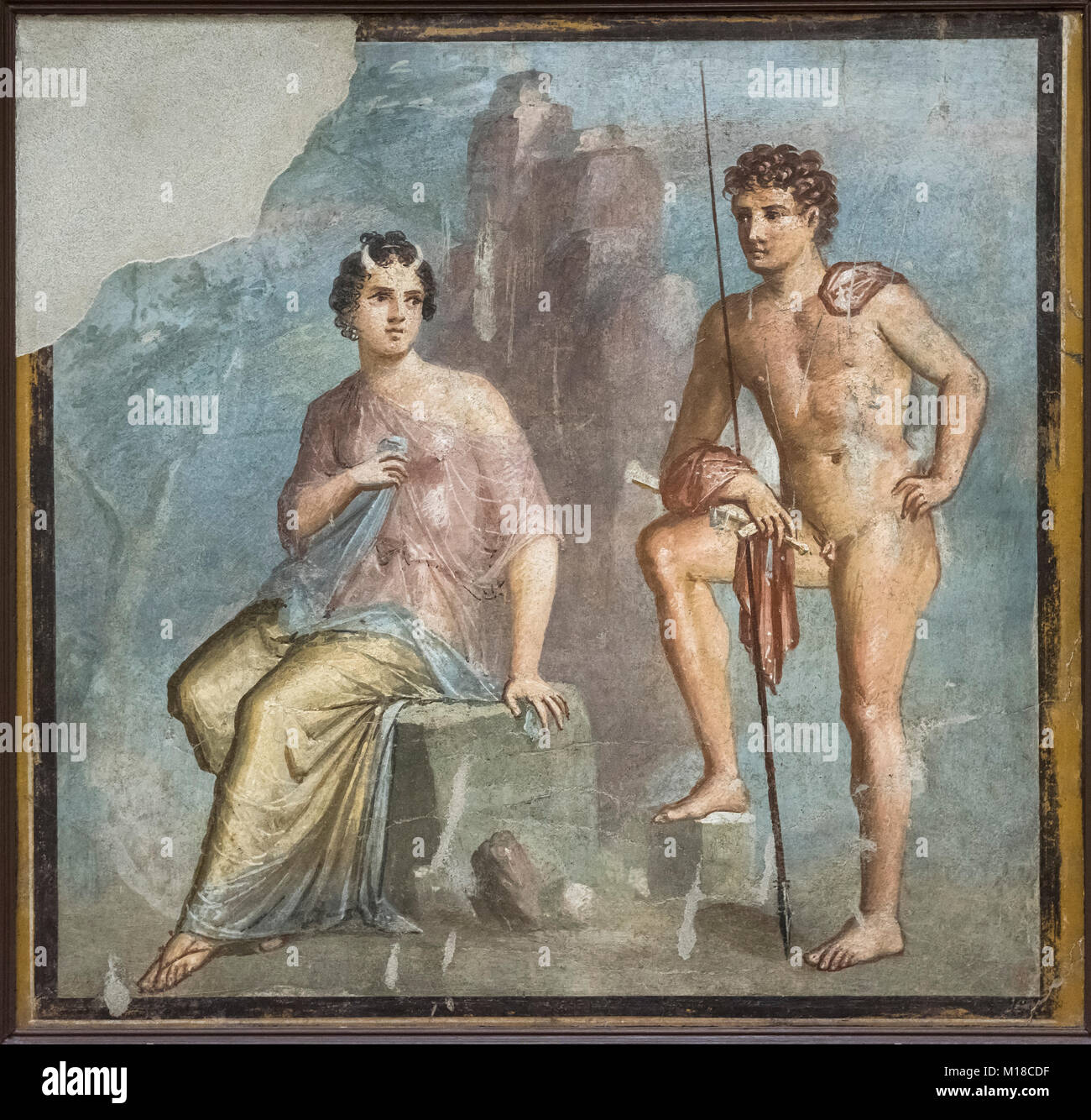 Naples. Italy. Fresco of Io being watched over by Argos. Museo Archeologico Nazionale di Napoli. Naples National Stock Photo