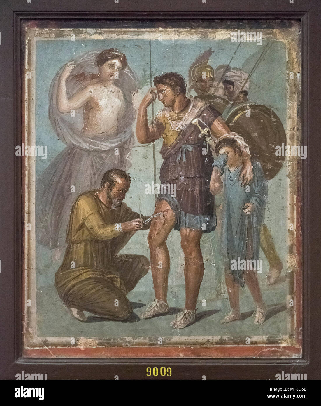 Naples. Italy. Wounded Aeneas is treated by surgeon Japix, fresco from Pompeii. Museo Archeologico Nazionale di - Stock Image
