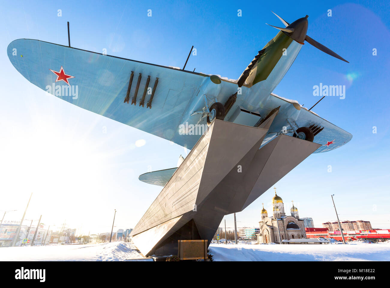 "Samara, Russia - January 28, 2018: Monument to low-flying attack airplane ""Ilyushin 2"" of the Second World War in Stock Photo"