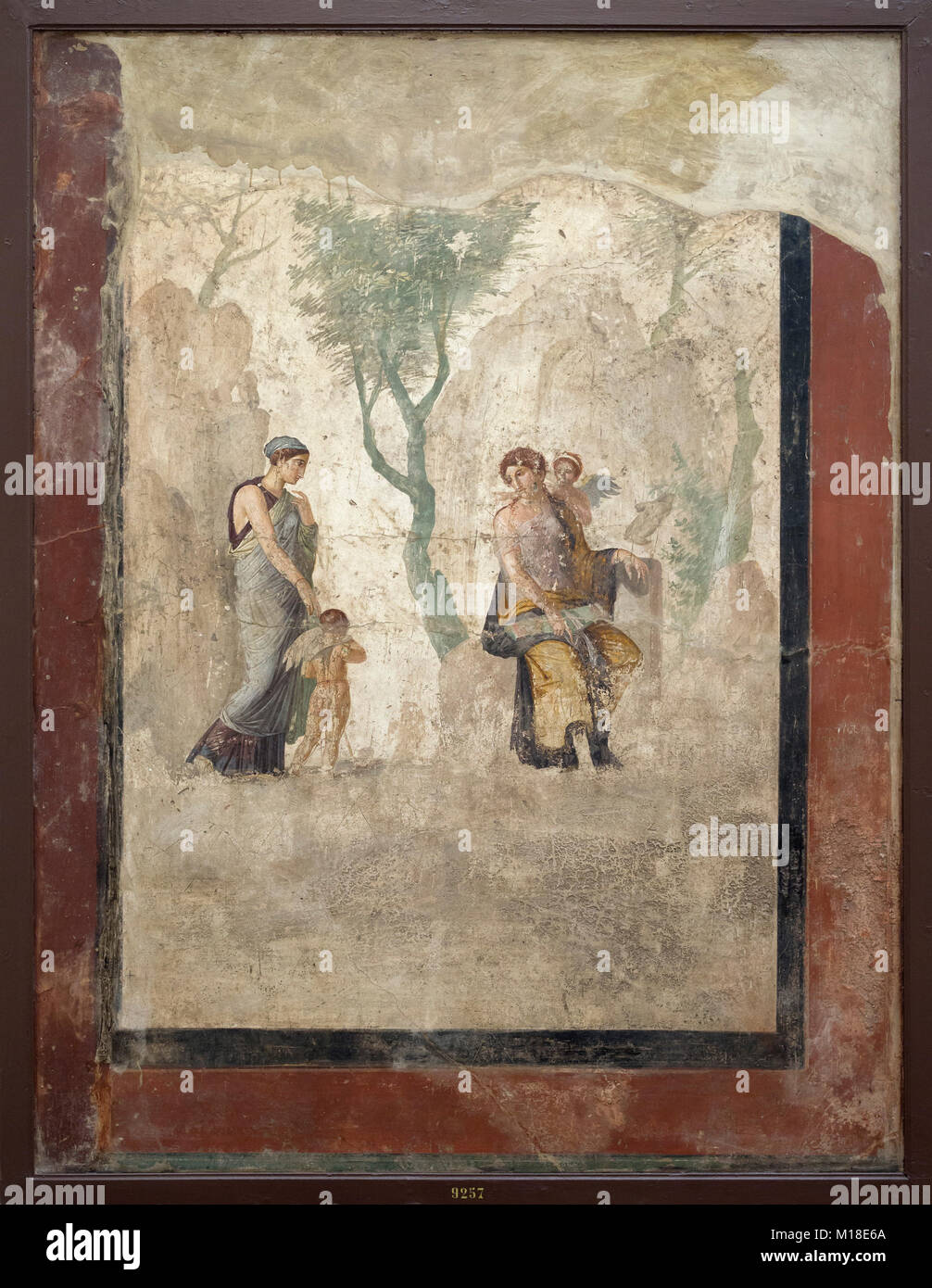 Naples. Italy. Fresco of Eros (Love) being punished in the presence of Aphrodite (Venus). Museo Archeologico Nazionale - Stock Image