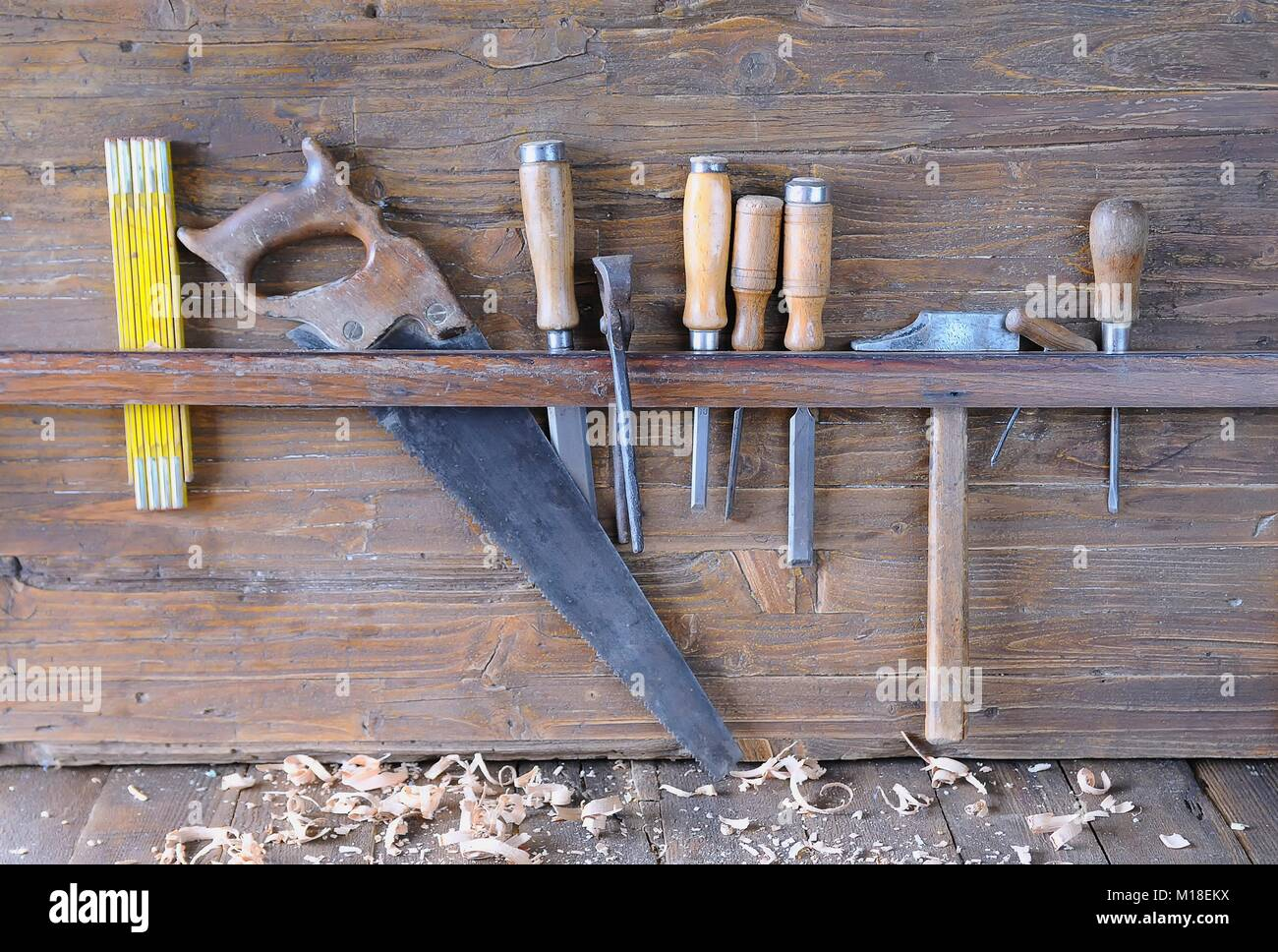 Pleasing Carpenter Tools On A Work Bench Carpentry Stock Photo Machost Co Dining Chair Design Ideas Machostcouk