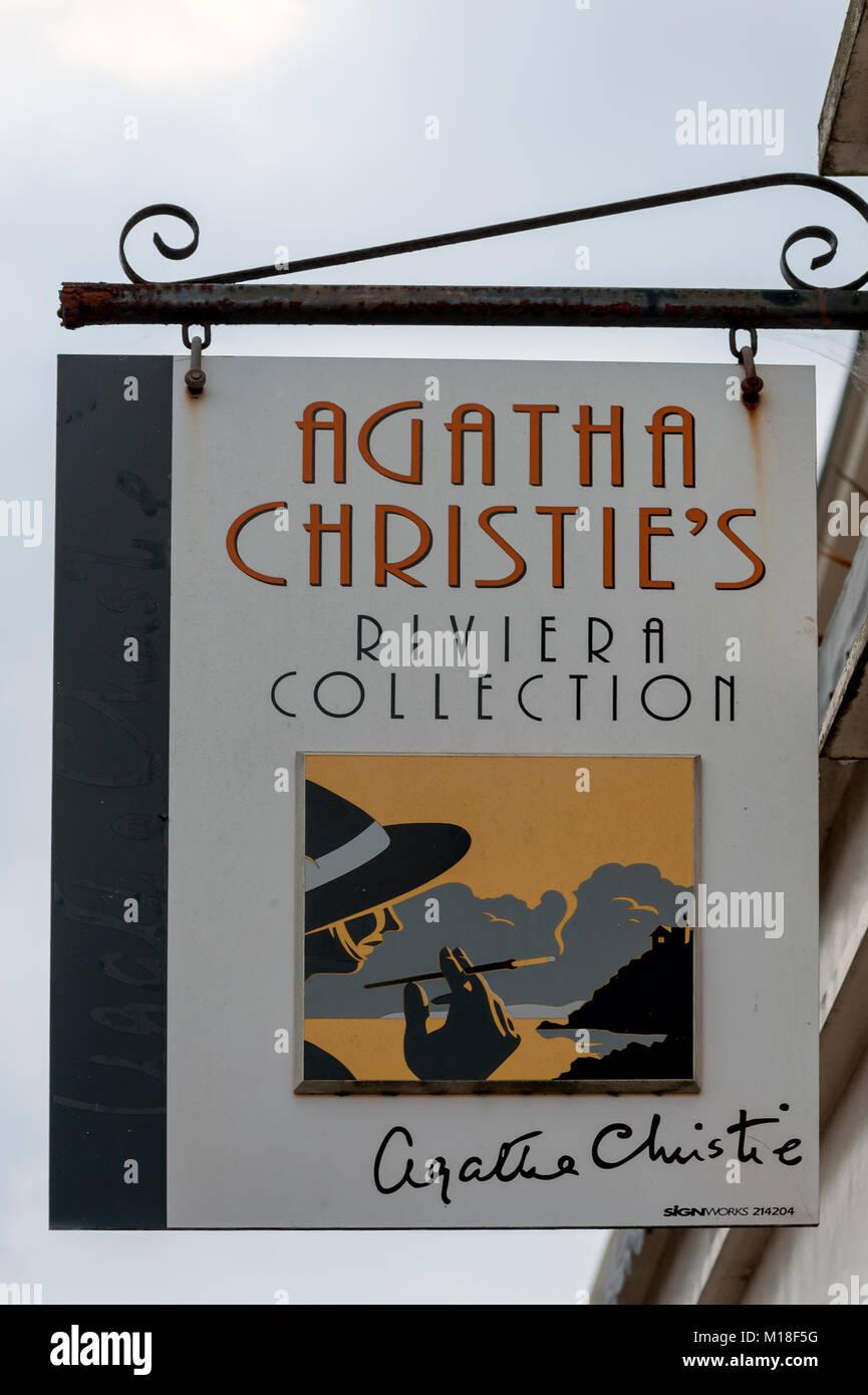 Sign above Riviera Collection shop specialising in Agatha Christie memorabilia - Stock Image