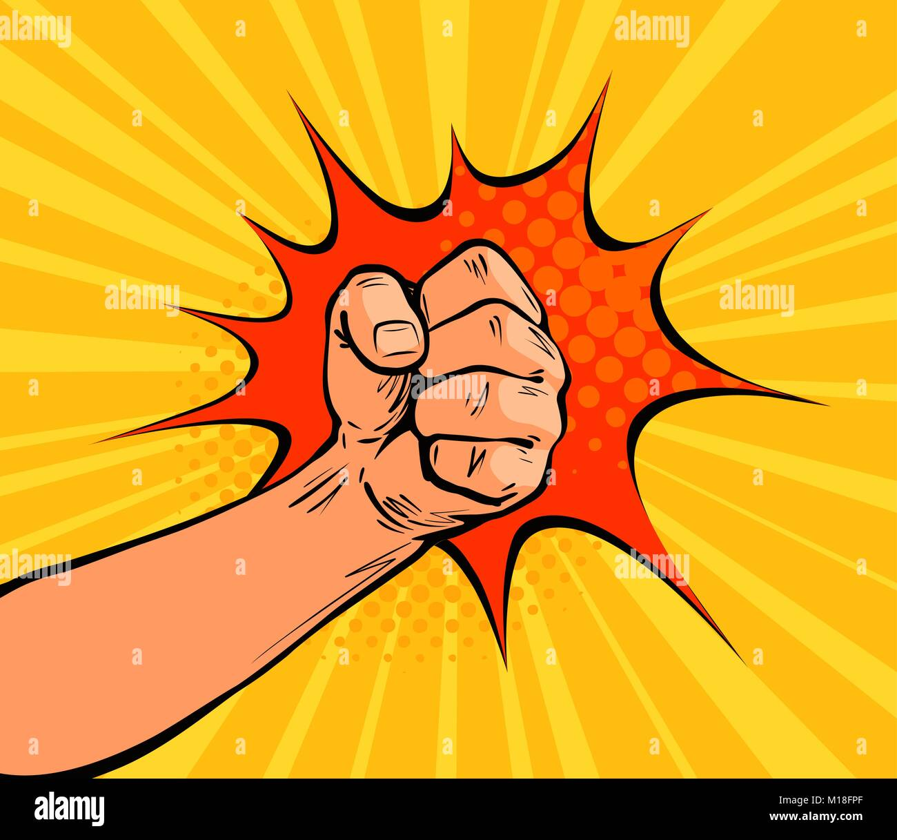 Fist punching, crushing blow or strong punch drawn in pop art retro comic style. Cartoon vector illustration - Stock Vector