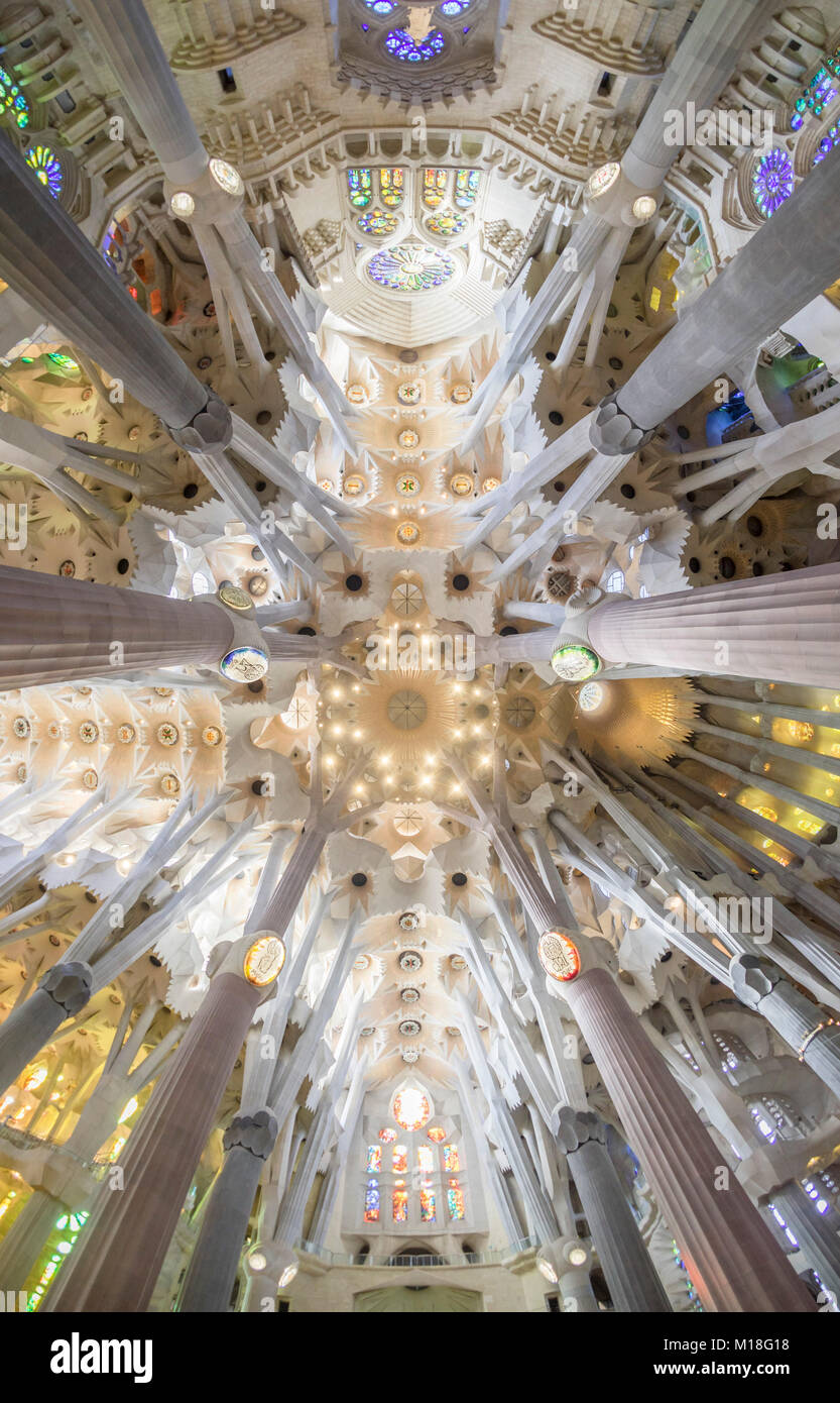 Interior view of the Sagrada Familia by Antoni Gaudi,Barcelona,Catalonia,Spain - Stock Image
