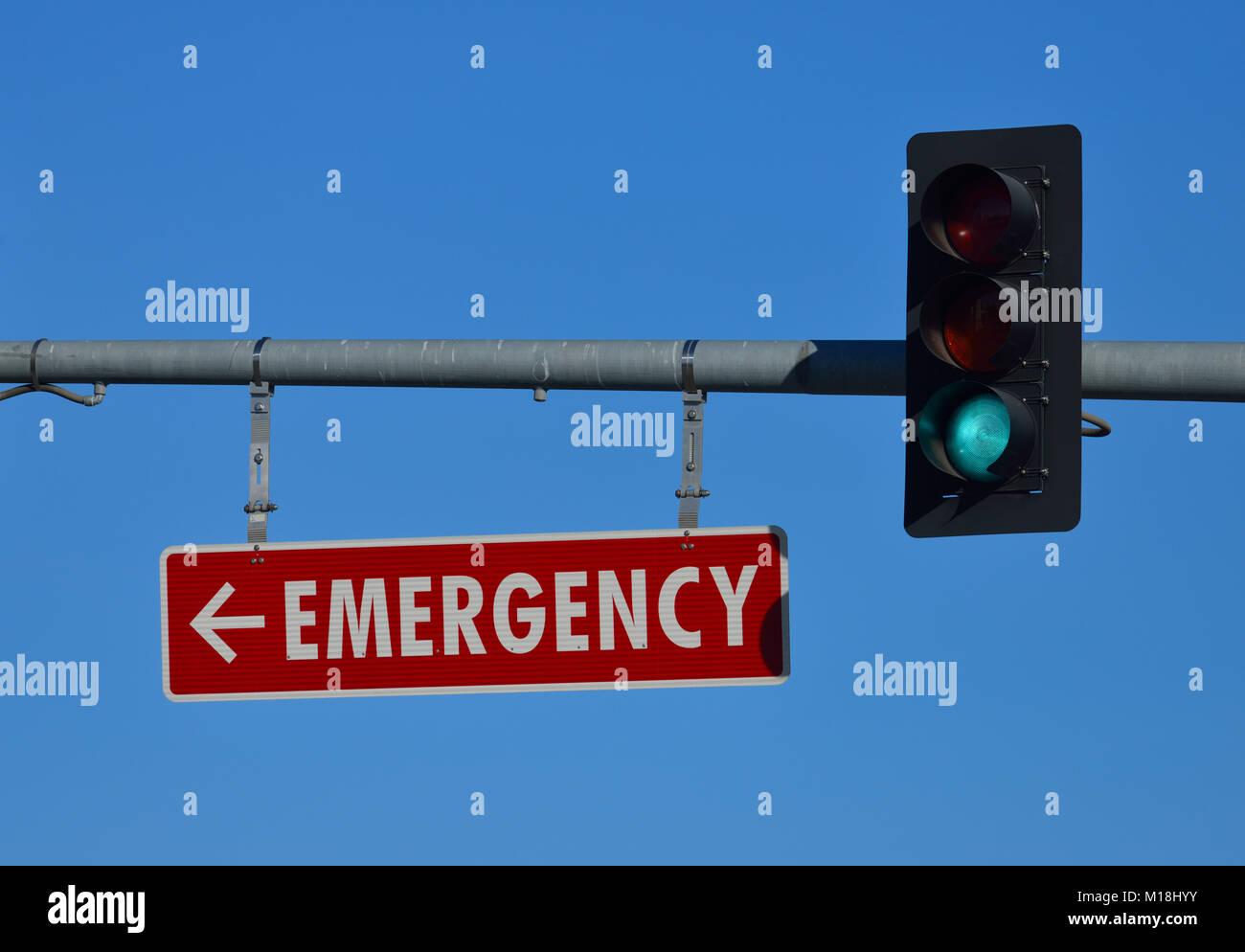 Emergency sign at SCVM Center, San Jose CA - Stock Image