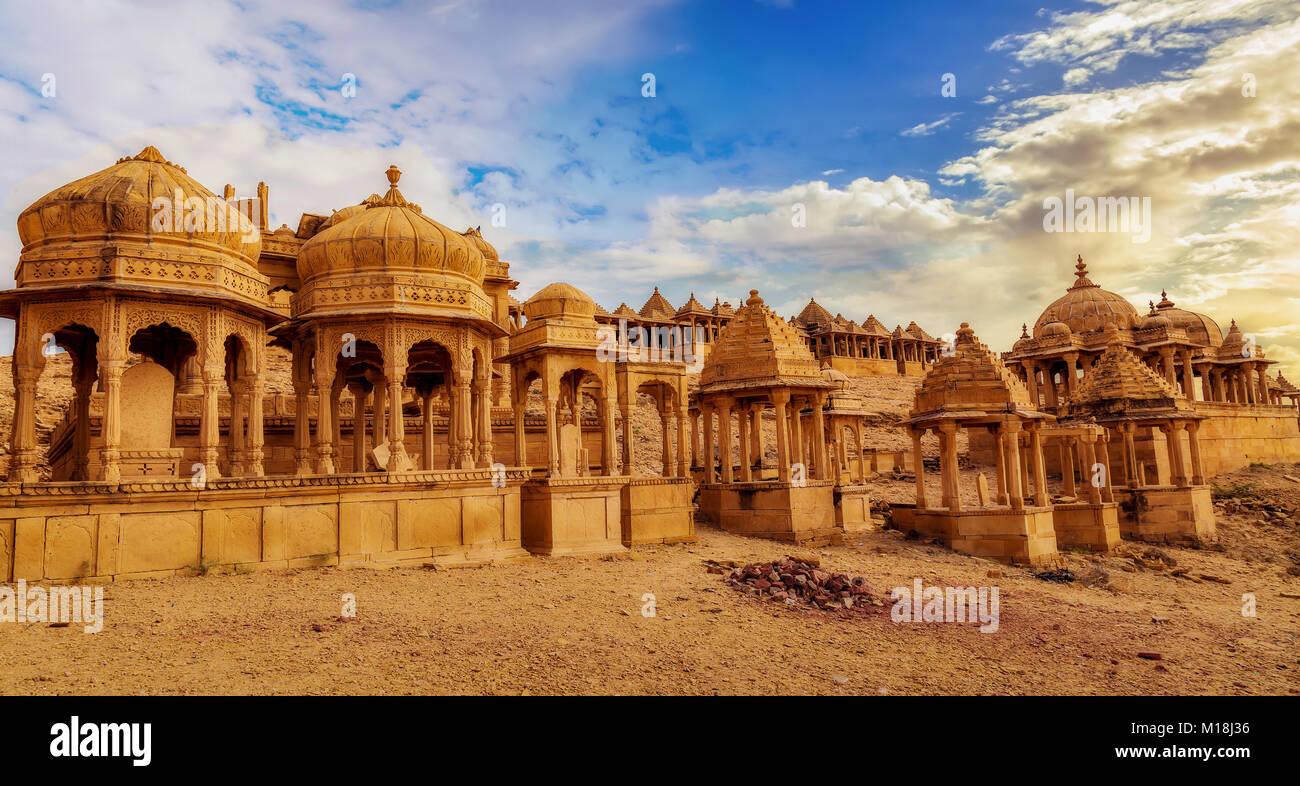 Historic royal cenotaphs known as Chhatris at Bada Bagh Jaisalmer Rajasthan. - Stock Image