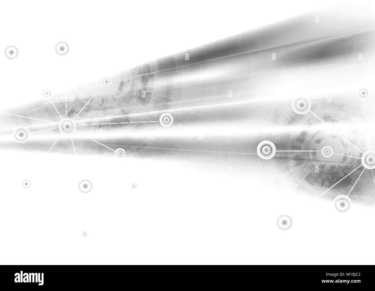 Light grey abstract technology background. Vector sci-fi graphic design - Stock Image