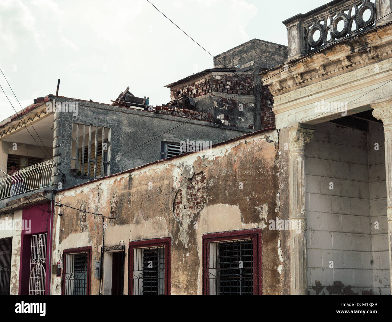 Holguin, Cuba - August 31, 2017: Different types of Homes in the city. - Stock Image