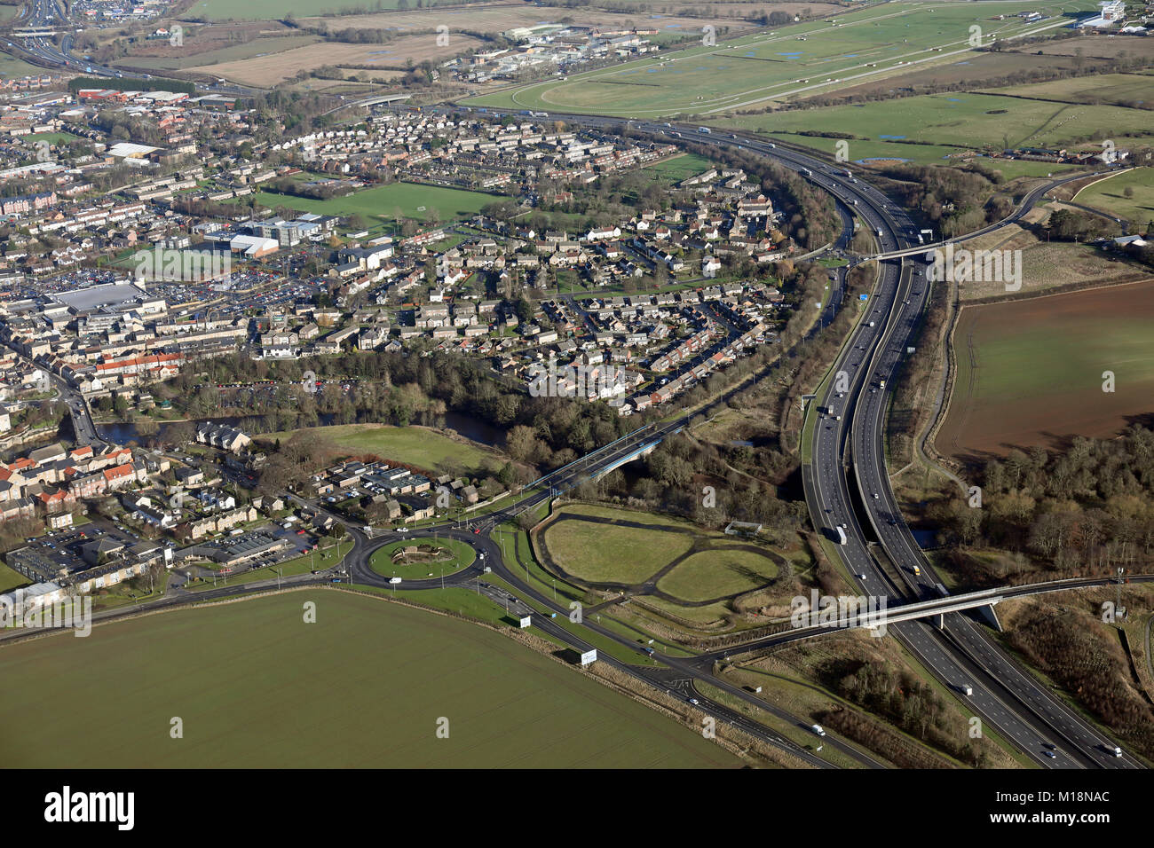 aerial view of the A1 motorway by-pass at Wetherby, West Yorkshire, UK - Stock Image