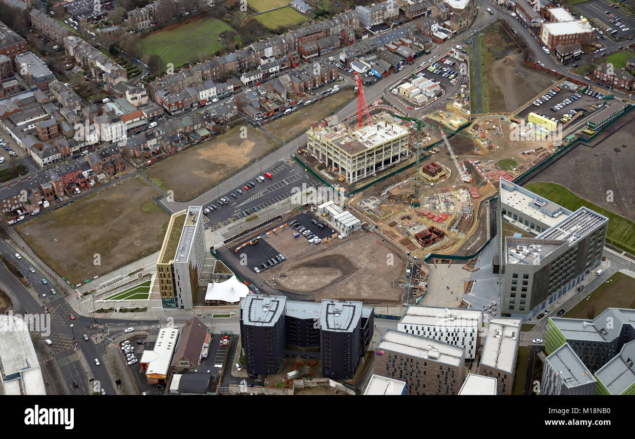 aerial view of new commercial development in the Leazes area of Newcastle upon Tyne, UK - Stock Image