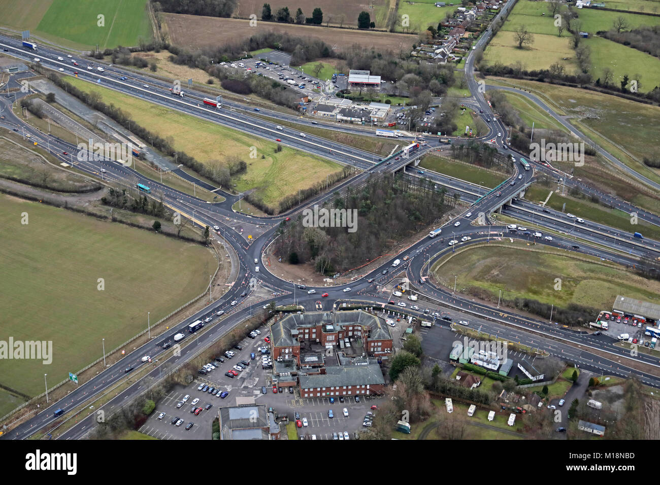 aerial view of Scotch Corner on the A1(M) motorway North Yorkshire, UK Stock Photo