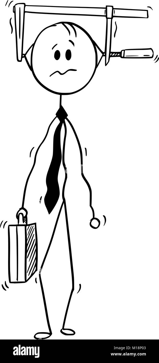 Conceptual Cartoon of Businessman Under Pressure - Stock Image