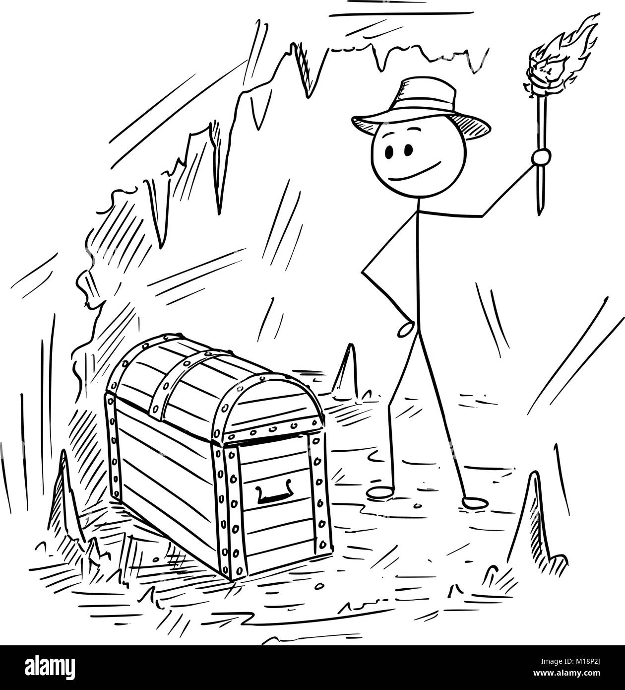 Cartoon of Adventurer Man Who Found a Treasure in Cave - Stock Image