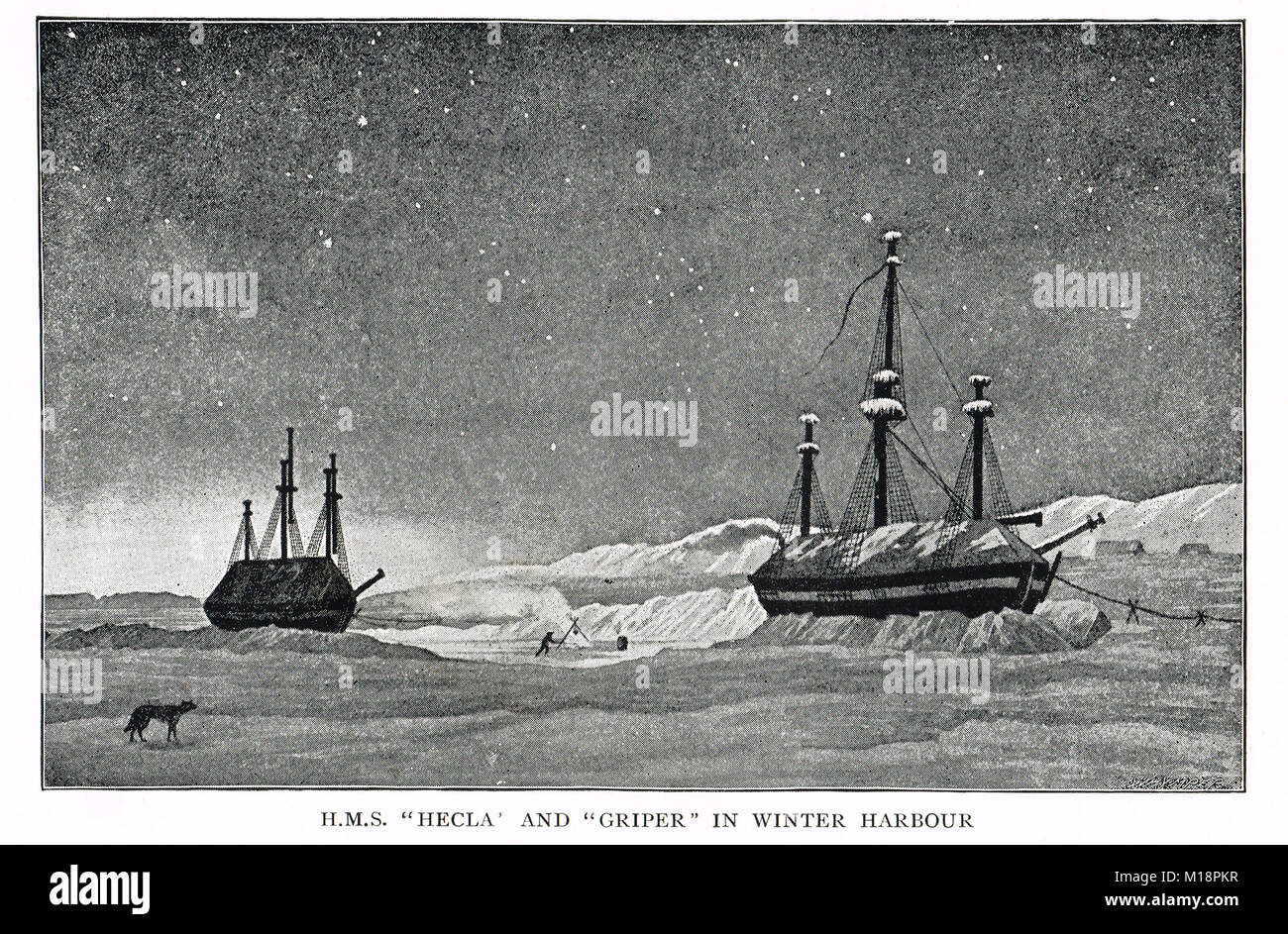 HMS Hecla & HMS Griper, in Winter harbour.  William Parry's 1819 expedition to the Arctic - Stock Image