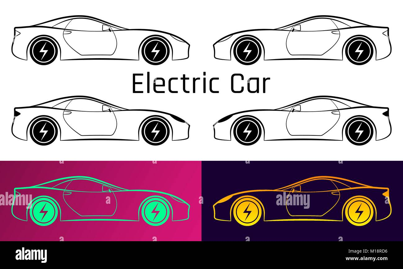 Vector Illustration Of Electric Car Silhouette Of Sport Car With