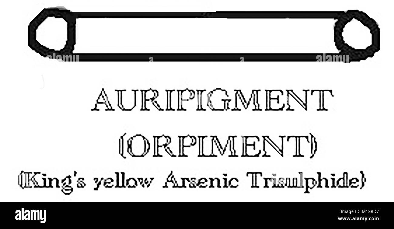 Magic,Mysticism, Symbolism  & Alchemy - The symbol for AURIPIGMENT or ORPIMENT  (King's Yellow Arsenic Trisulphide) - Stock Image