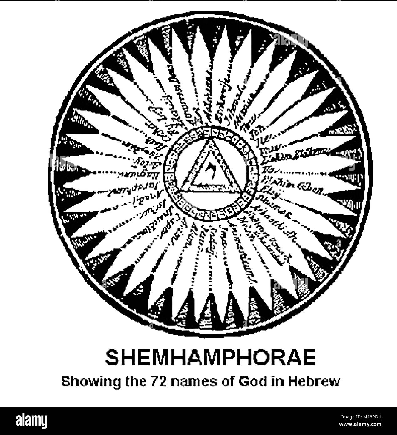 Magic,Mysticism, Religion & Alchemy -  SHEMHAMPHORAE showing the 72 names of God in Hebrew - Kabbalah - Stock Image
