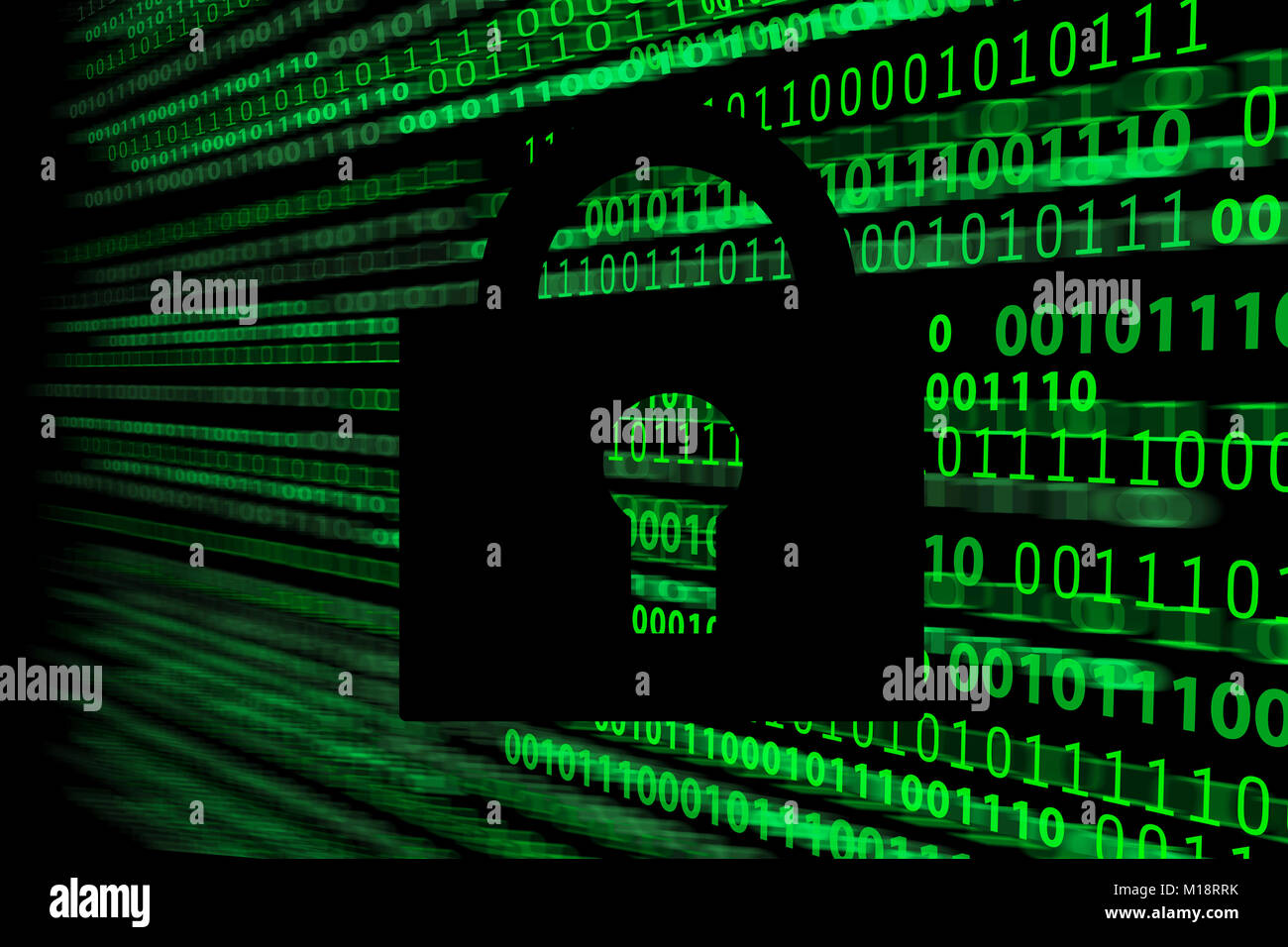 Composite image of digital security and cryptology system - closed padlock on the background of blurred motion binary - Stock Image