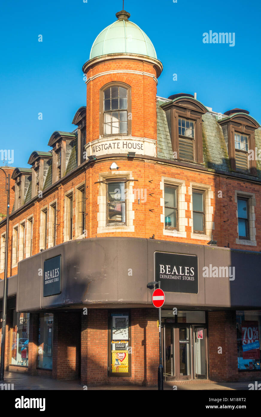 Beales Department Stores (selling an eclectic mix of goods and brands). Corner building in Peterborough city centre, - Stock Image