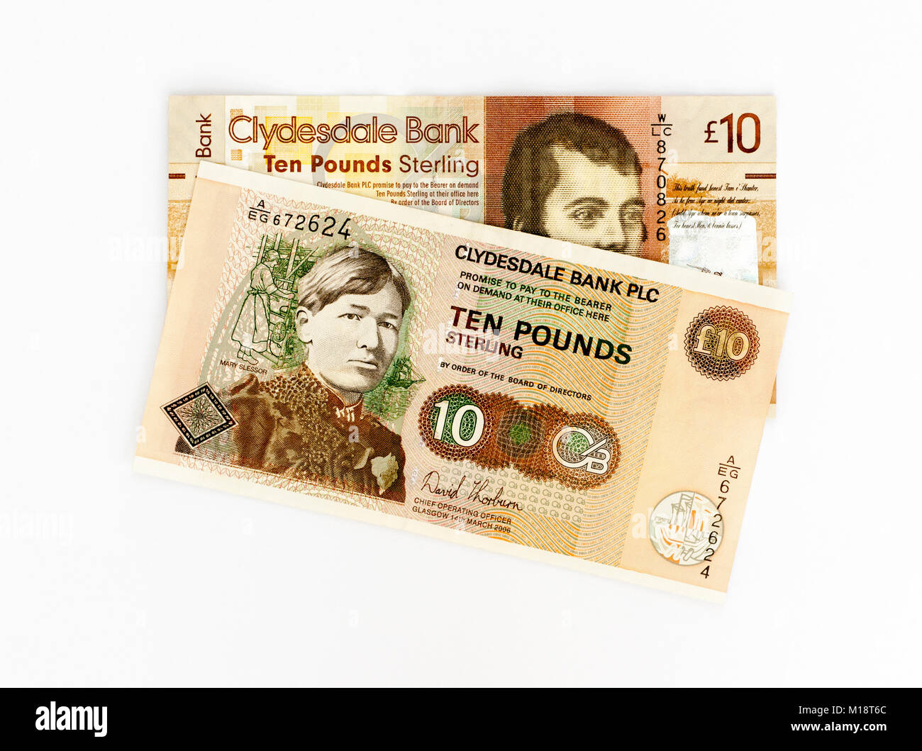 UK 10 Ten pounds Polymer Bank Notes - Stock Image
