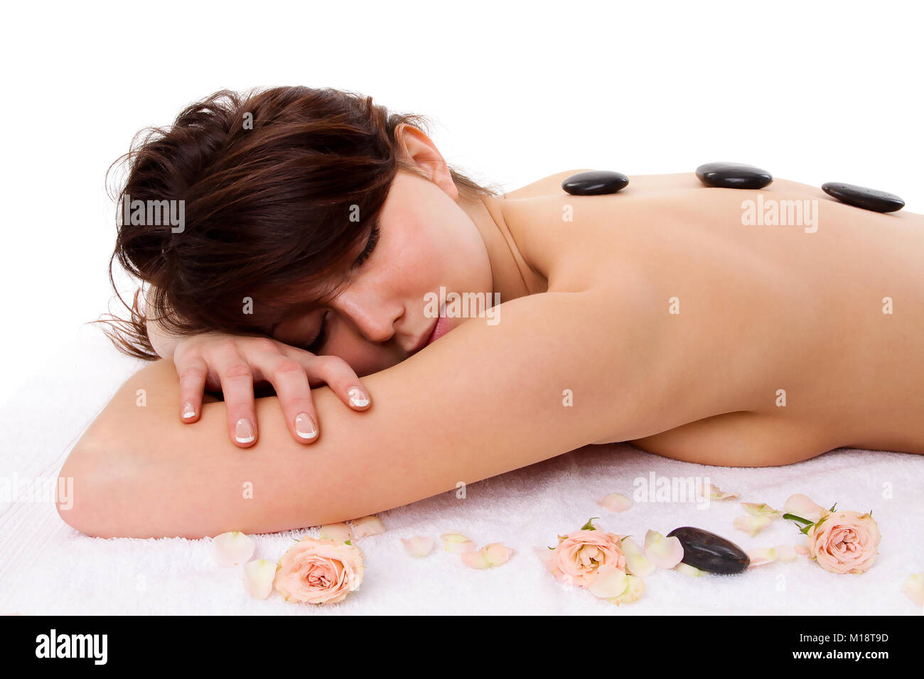 Woman - spa treatment concept isolated on white background - Stock Image