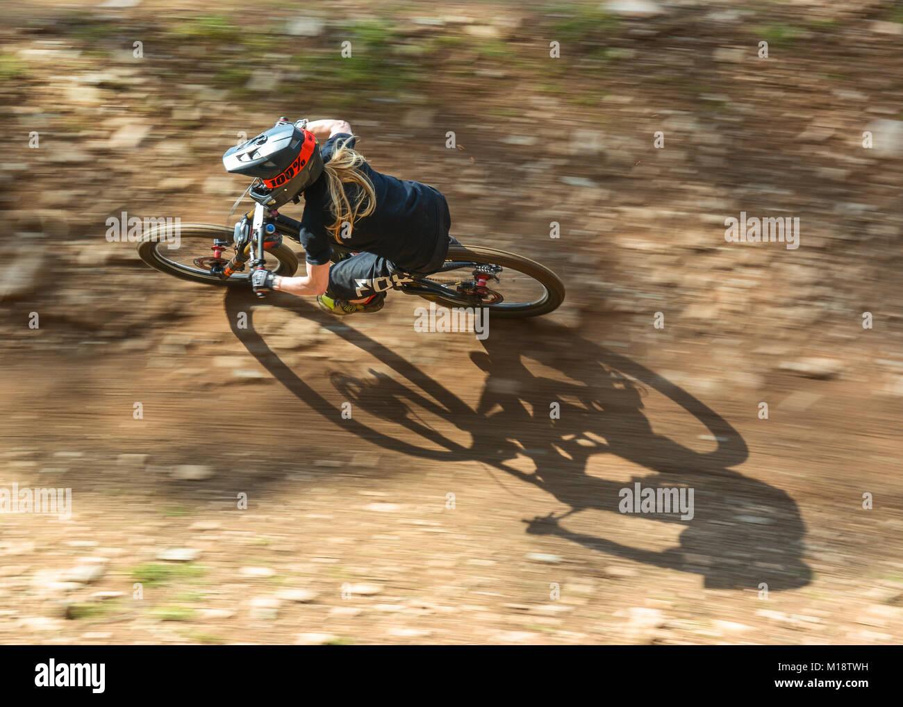 female downhill mountain biker - Stock Image