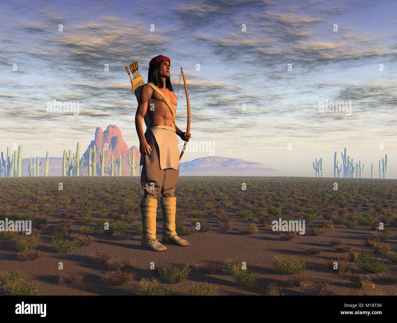 3d illustration of an Apache warrior - Stock Image
