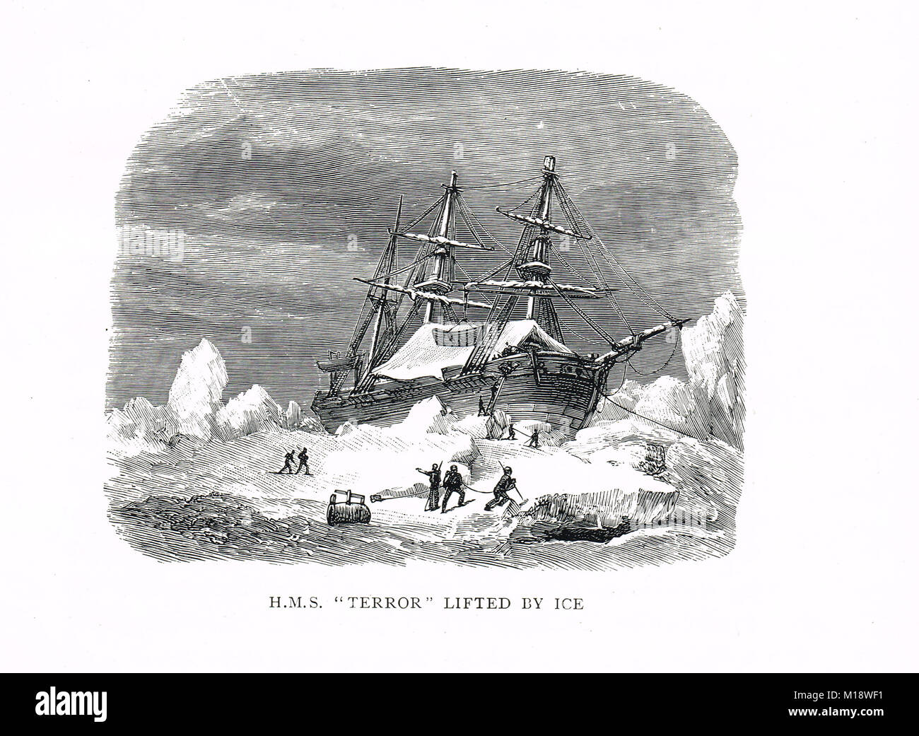 HMS Terror lifted by Ice during Captain George Back's Arctic expedition to Hudson Bay, 1836-1837 - Stock Image