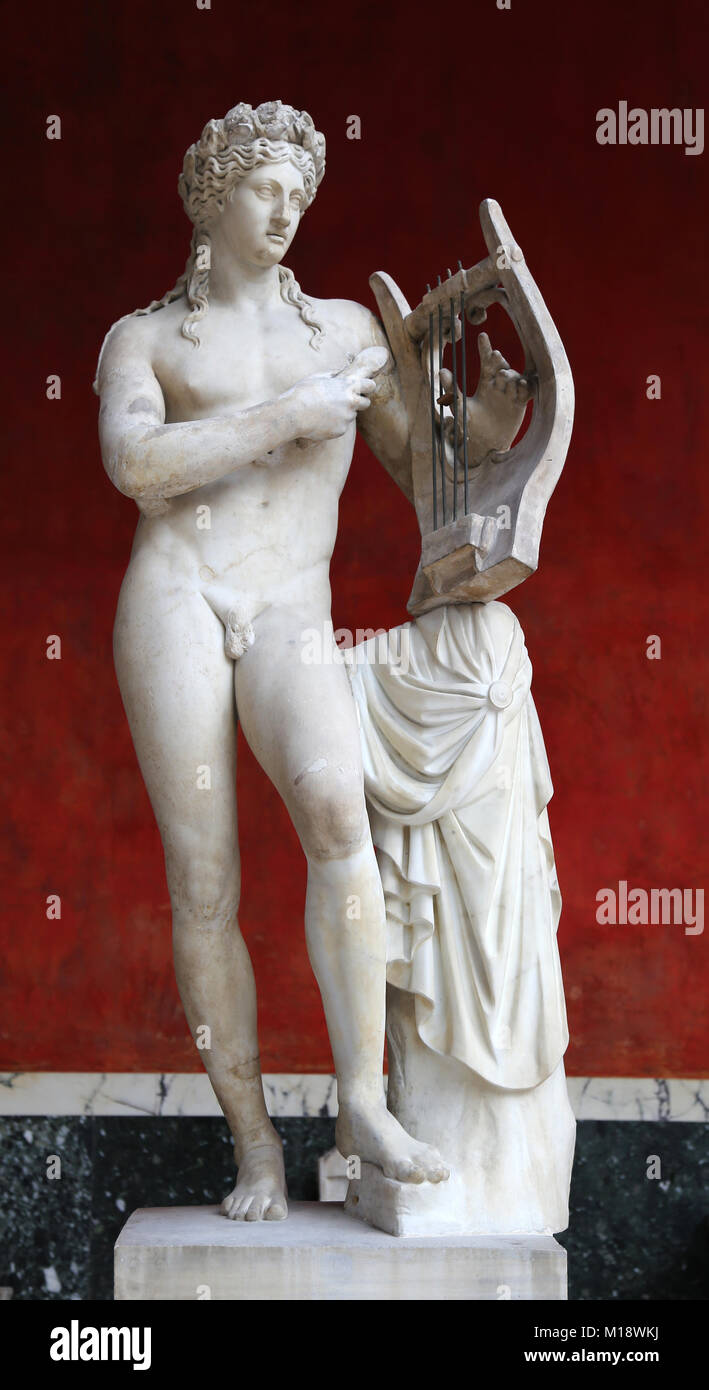 Apollo. Olympic deity. Ancient Greek and Roman religion. Statue made during the Imperial Era. - Stock Image