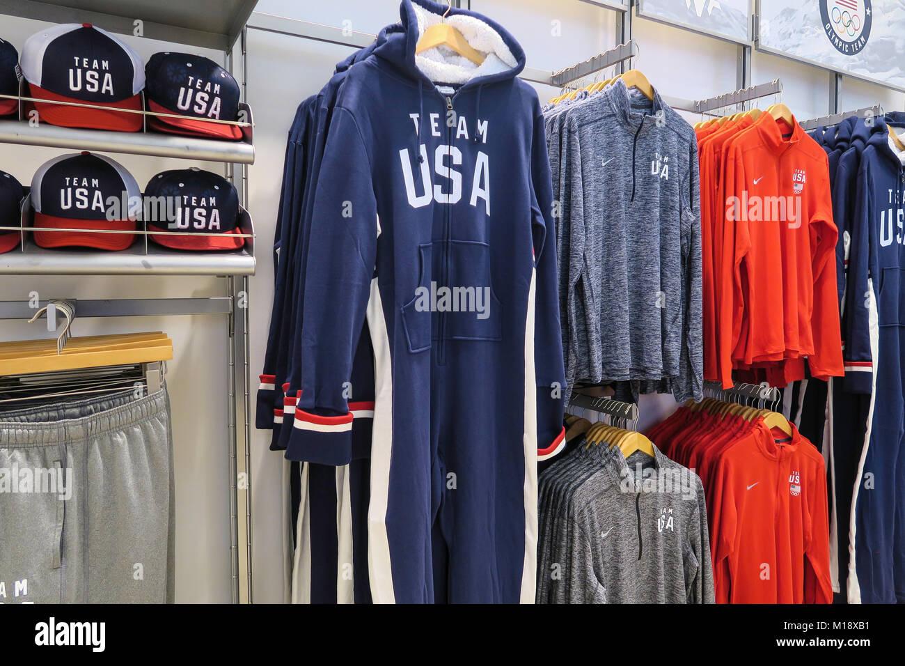 Team USA Shop in Rockefeller Center, NYC, USA - Stock Image