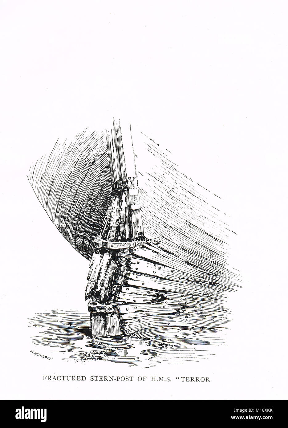 Fractured stern post of HMS Terror, trapped by Ice. Captain George Back's Arctic expedition to Hudson Bay, 1836 - Stock Image