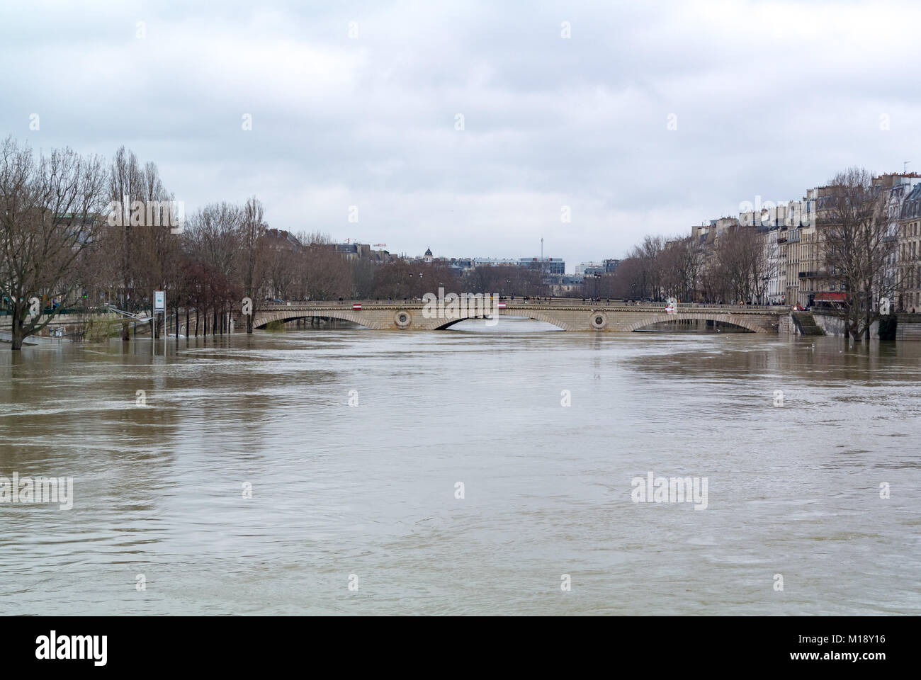 Flooding on Seine river Paris France - Stock Image