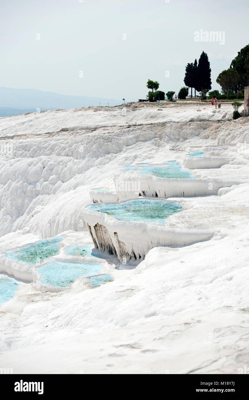 Pamukkale travertines pools at Denizli Turkey. - Stock Image