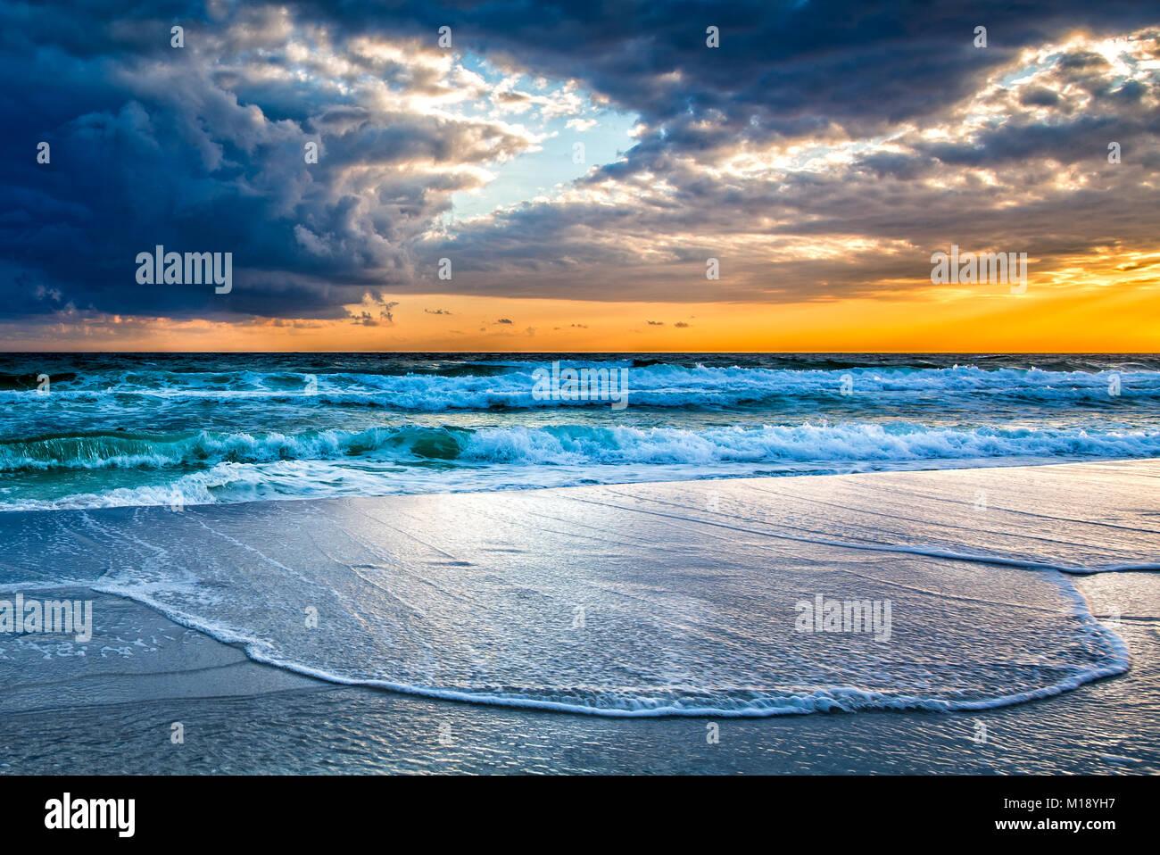 Stormy Sunset Destin - Stock Image