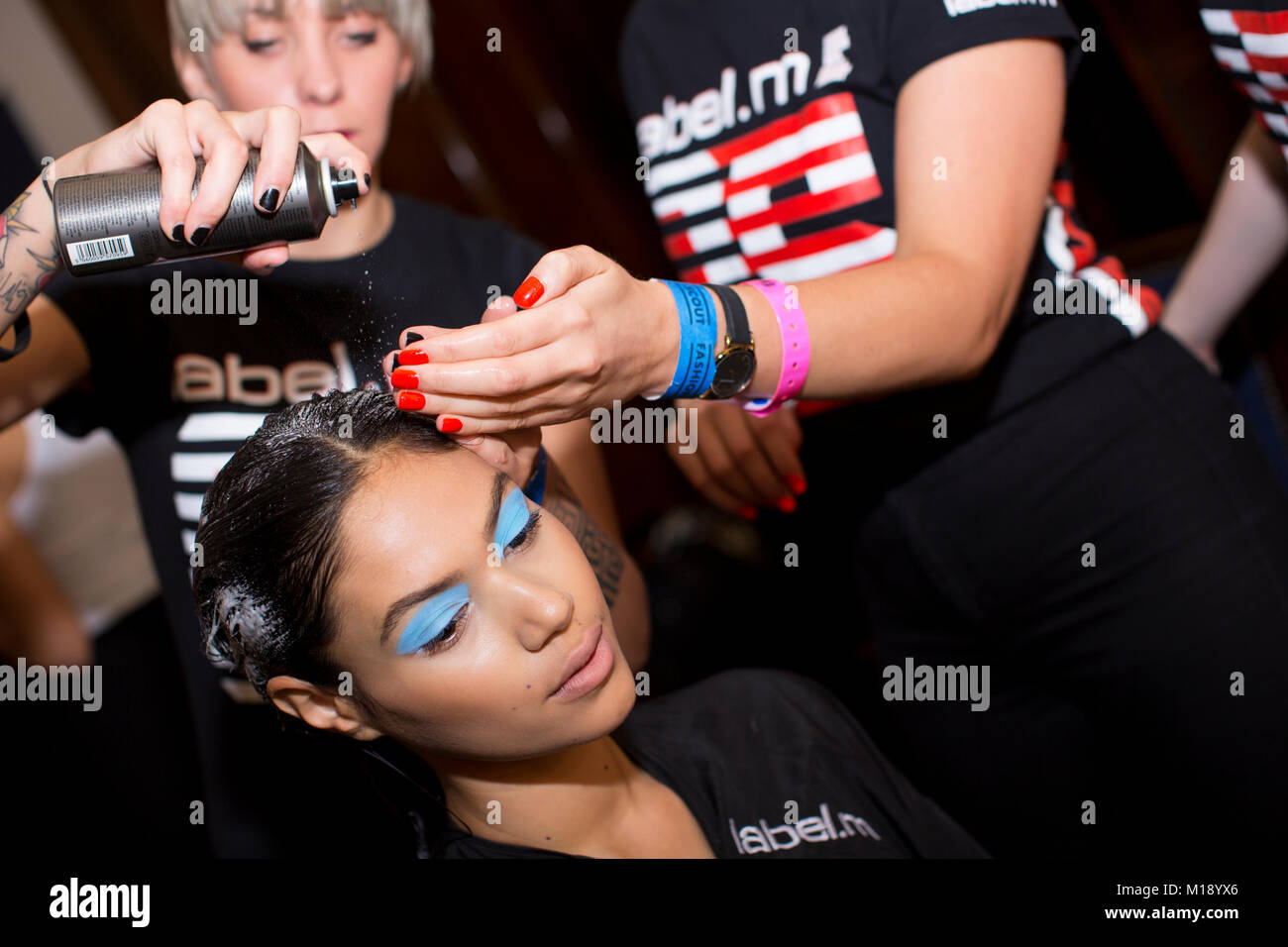 London,UK, 17 September 2016, model backstage at Fashion Scout, London Fashion Week SS/17 at Freemasons Hall.  Mariusz - Stock Image