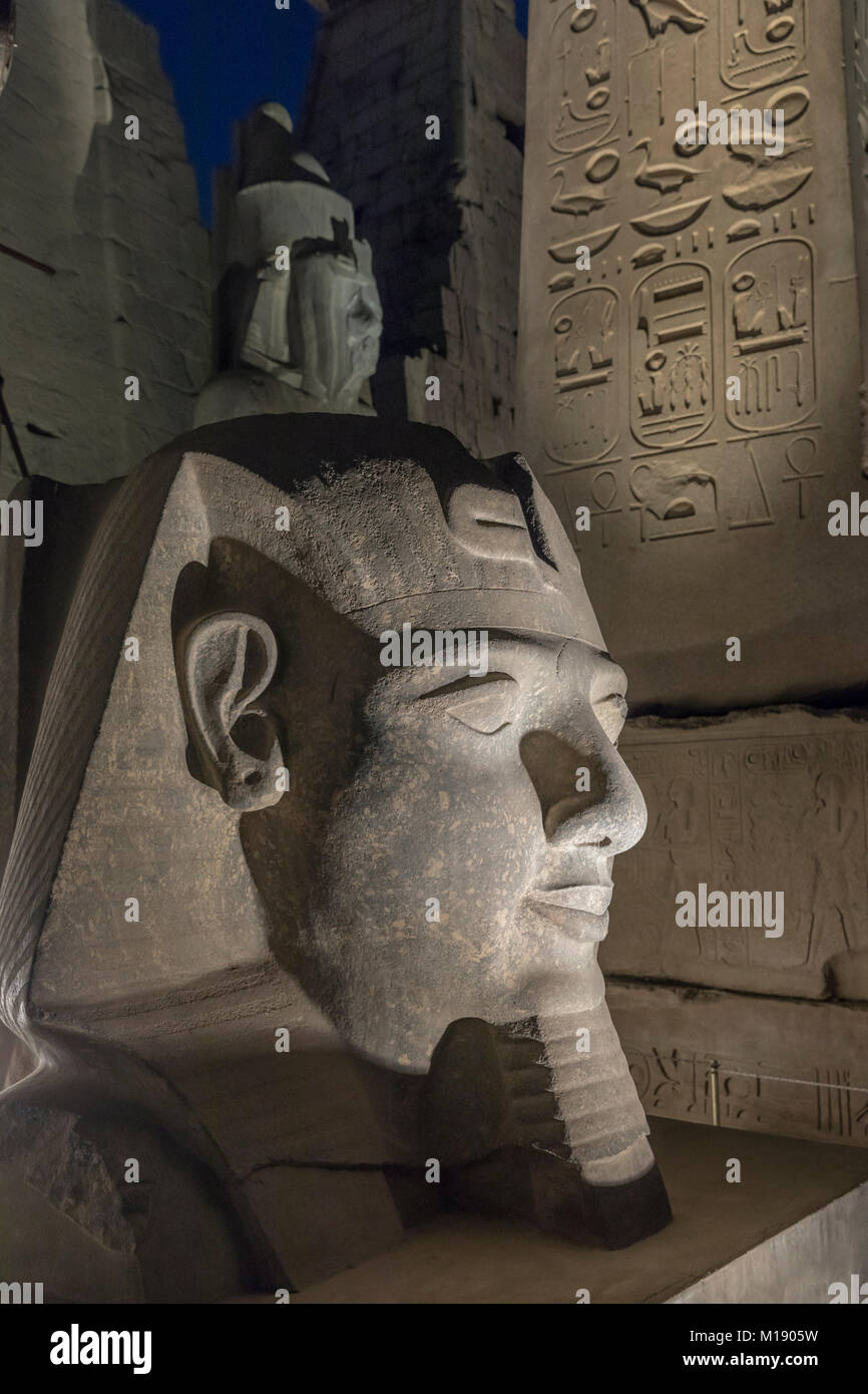 Head of Ramses II at the Pylon of Luxor Temple, Luxor, Egypt Stock Photo