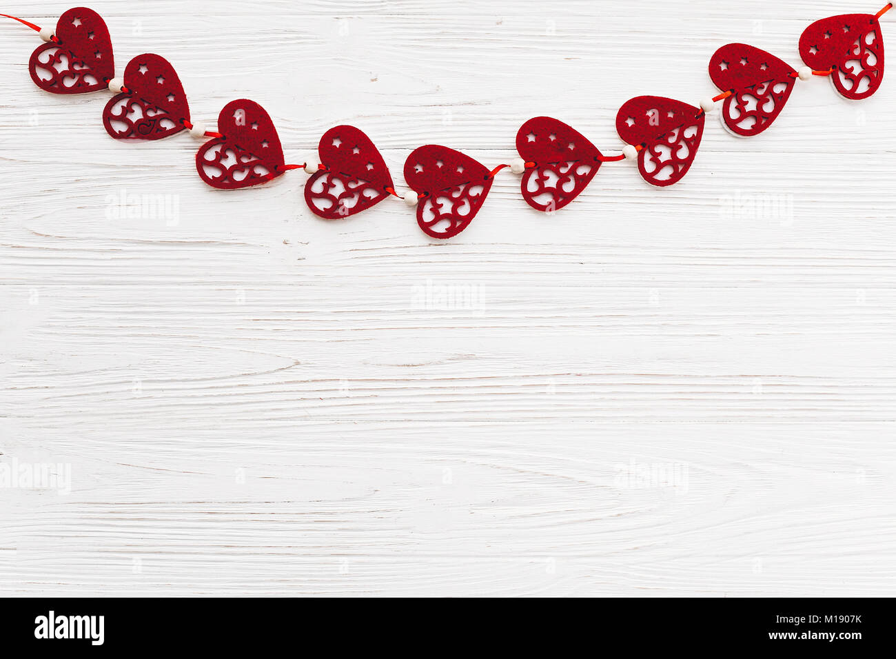 Valentine S Day Concept Stylish Red Hearts Border On White Rustic