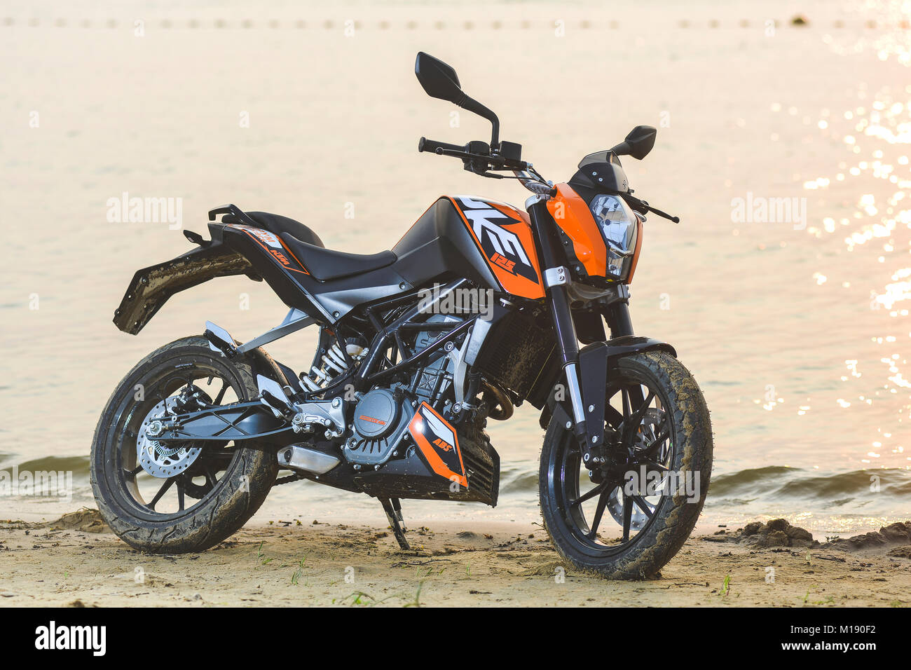Khabarovsk, Russia - July 27, 2014 : motorcycle KTM Duke stands on the shore of a lake in Khabarovsk on July 27, - Stock Image