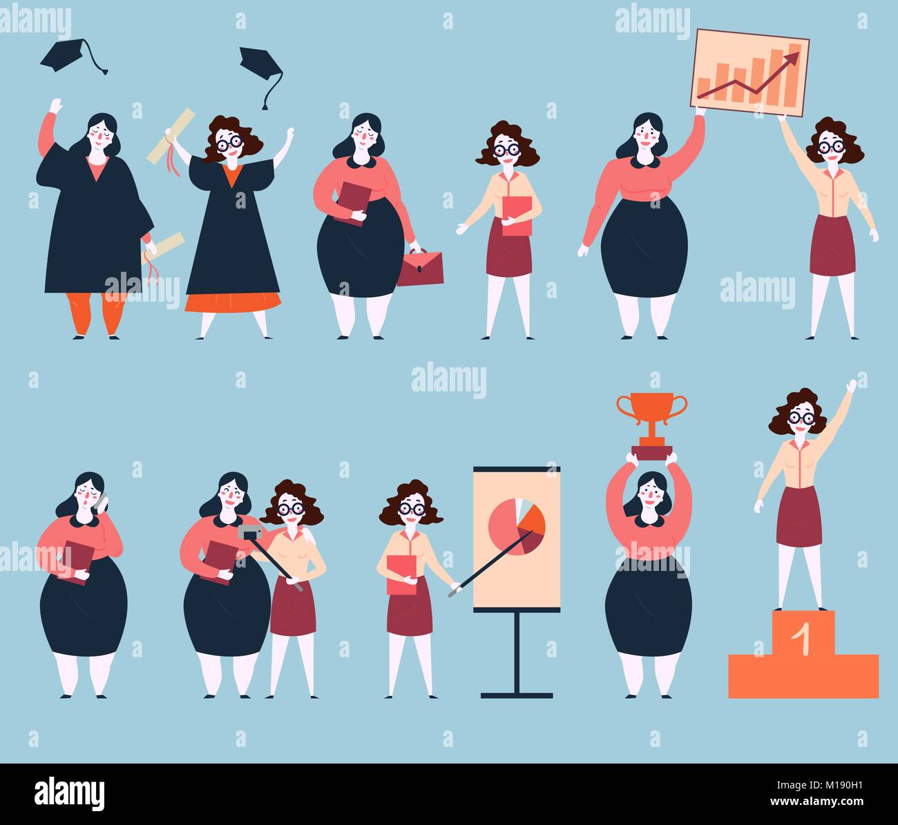 Steps to success of two woman friends. University graduation, search of work, working, graphics and analitycs. Final - Stock Vector