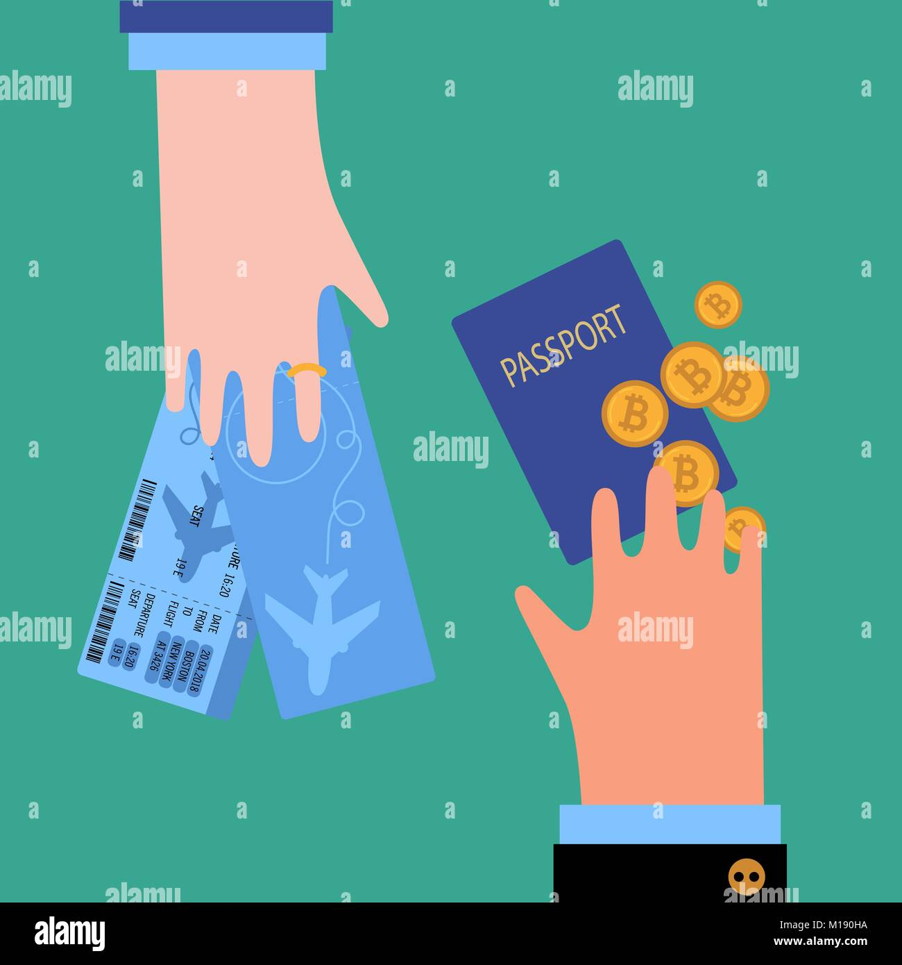 Man hand with passport and bitcoin cryptocurrency and woman with tickets. Bussiness Guy is buying airplane tickets - Stock Vector